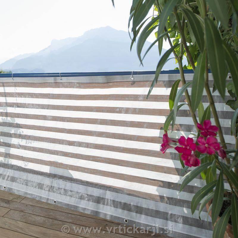 Windhager Balkonska ograja Capri,sivo bela, 0,9x5m tkanina