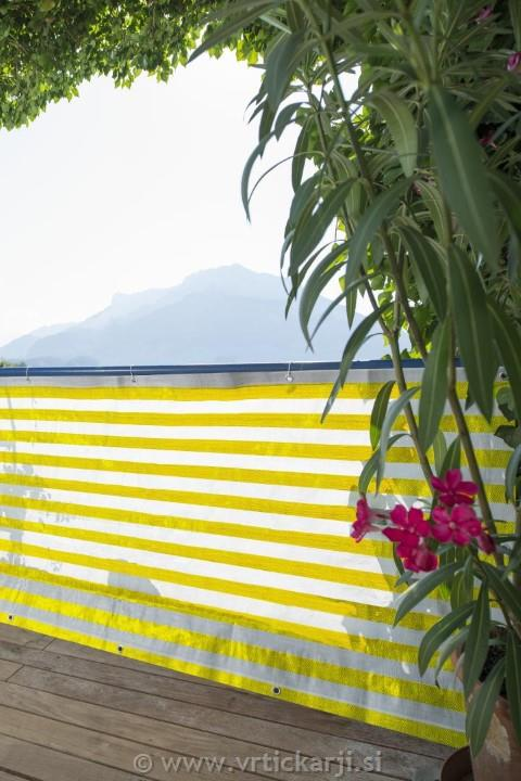 Image of Balkonska ograja Ibiza,rumeno bel 5x0,9m tkanina, 210g/m2, 100% senčenje